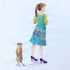 @kimikahara - Instagram:「meerkat & girl🌺👗 #embroidery #embroiderydesign #embroideryart #art #artwork #embroideryillustration #modernembroidery #embroideryartist…」 Hand Embroidery Art, Modern Embroidery, Embroidery Designs, Minis, Short Sleeve Dresses, Sequins, Textiles, Photo And Video, Summer Dresses