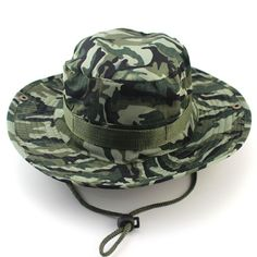 Men Military Camo Bucket Hat with Strings Camping Hiking Sniper Wide Brim