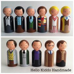 Doctor Who hand painted wooden peg people play set. Made to order by Hello Kiddo Handmade. www.facebook.com/...