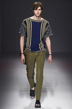 Salvatore Ferragamo S/S 17. Grecian Print Shirt and Khaki Green Trousers.