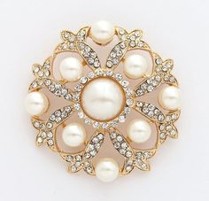 Gold Wedding Brooch Crystal Pearl Brooch Glam Bridal Bouquet Brooch Dress Sash Brooches Necklace Cake DIY Jewelry Crafts Bling Gold Broaches