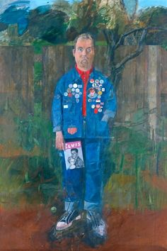 Peter Blake, Self Portrait with Badges, 1961 From the Tate Gallery: Blake's self-portrait shows his equal respect for historical tradition and modern popular culture. He may have based this image on Thomas Gainsborough's famous portrait The Blue Boy...