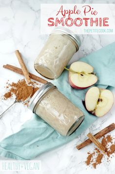 This Vegan Apple Pie Smoothie tastes just like apple pie, but it's made with healthy ingredients, it's naturally sweet and gluten-free! Recipe from thepetitecook.com