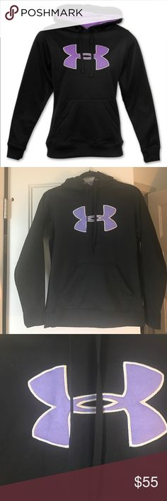 Under Armour Black and Purple Hoodie Sz Small Super cute and warm. Fleece inside. Great shape. Size Small Under Armour Jackets & Coats