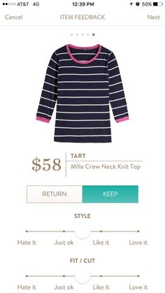 Tart Milla Crew Neck Knit Top. I love Stitch Fix! A personalized styling service and it's amazing!! Simply fill out a style profile with sizing and preferences. Then your very own stylist selects 5 pieces to send to you to try out at home. Keep what you love and return what you don't. Only a $20 fee which is also applied to anything you keep. Plus, if you keep all 5 pieces you get 25% off! Free shipping both ways. Schedule your first fix using the link below! #stitchfix @stitchfix. Stitchfix…