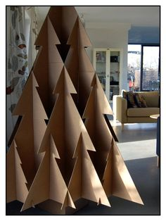Cardboard tree by Studio Boon Christmas Tree Diy Xmas, Diy Christmas Tree, Xmas Tree, Christmas Projects, Outdoor Christmas Decorations, Christmas Holidays, Christmas Crafts, Christmas Ornaments, Christmas Displays