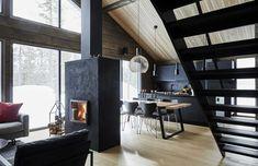 Inspiration for a modern log house - Honka - Log Cabin Furniture, Rustic Wood Furniture, Western Furniture, Furniture Design, Chalet Interior, Home Interior Design, Cabin Design, House Design, Design Design