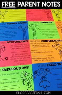 Relieve some of the stress from the beginning of the year! These Parent Notes are a quick print so you can prep them before the school year or really fast before your students arrive for the day! 12 FREE NOTES #ParentingTeacher