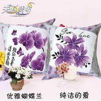 2 шт. + незаконченный точная вышивка крестом подушки для вышивания, Крест - вышивки крестом наволочки комплект для ---- бабочка цветы