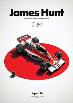 James Hunt | 40 Years A Champion ~ 2016 marks the40th anniversaryof James Hunt'sworld championship victory. The McLaren Formula 1 Team has released a stunning series of original posters and prints in honor of James Hunt's World Drivers Championship in 1976. Prints are available for purchase at  www.mclarenstore.com #F1 #Formula1 #JamesHunt #McLarenF1 #McLarenM23