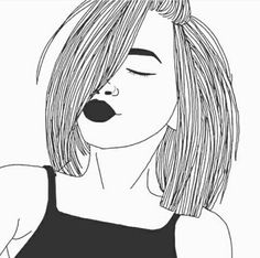 Art girl drawing shared by Mielletanne✿ on We Heart It Tumblr Outline, Outline Art, Outline Drawings, Cute Drawings, Drawings Of Girls, Hipster Drawings, Hair Drawings, Tumblr Girl Drawing, Tumblr Drawings