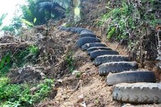 uses for used tires, tire gardening, tire stairs, permaculture, sustainable agriculture
