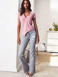 Lazy Sunday just got a lot cuter. | Victoria's Secret Bootcut Pant