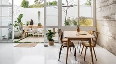 nice kitchen dining relationship to the outdoors