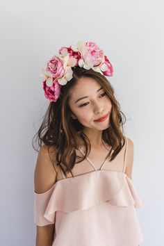 bright pink flower spring racing fascinator // spring races flower crown headband, statement floral headpiece, melbourne cup, oaks day