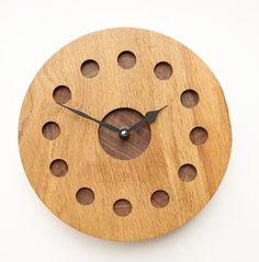 Turned Oak Wall Clock with Inlaid Walnut