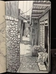 narrow alleyway led to various smaller houses. an old lady sat by her front entrance door and sang happily when i walked through @ Kampung Melayu Kecil, Tebet, Jakarta. year 2013. artist: yeekee ku