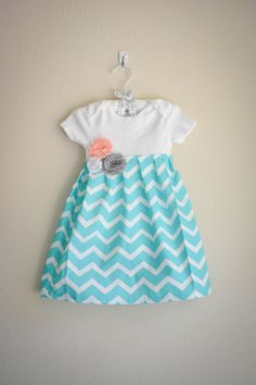 Aqua chevron infant dress with gray and by SweetStrawberryShop