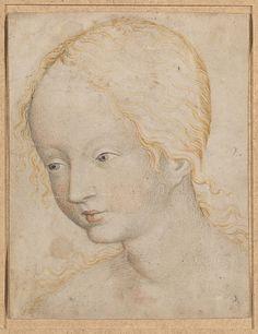 Head of a Woman; Anonymous, Bohemian, c.1405–10; Watercolor on vellum; Metropolitan Museum of Art