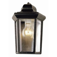 Bel Air Lighting Pentagon 1 Light Outdoor Black Coach Lantern With Clear Glass 4349 BK