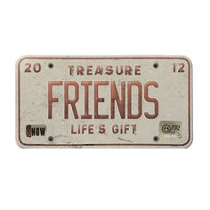 "Vintage License Plate ""Friends"" for Scrapbooking, Web Design, Blog Design and Digital Design"