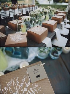 wedding place cards attached to gourmet picnic dinner boxes http://www.weddingchicks.com/2014/01/13/eclectic-midwest-wedding/