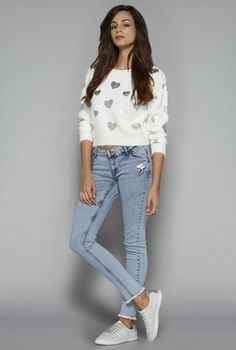 Nuon by Westside White Heart Print Sweater
