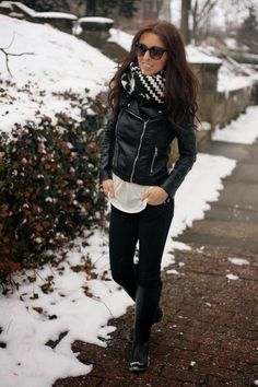 Street Style - Leather Jacket and Long boots, Pants and Blouse with Scarf