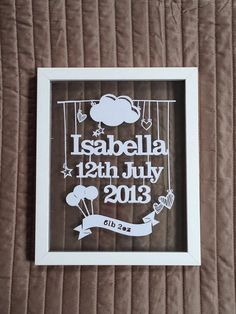 Personalised Papercutting New Baby Boy Baby Girl Nursery Baby Shower Frame Papercut 10X8 on Etsy, £25.00