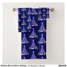 Modern Blue & Silver Holiday Tree Motif Bath Towel Set Bath Towel Sets, Bath Towels, Holiday Tree, Christmas Items, Holiday Outfits, Christmas Card Holders, Blue And Silver, Keep It Cleaner, Colorful Backgrounds