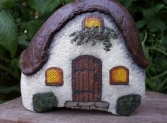 *HAND PAINTED ROCK Thatched Roof Cottage by mitzi