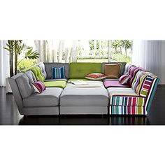 Botao modular sectional...love the gray with a random pop of color or stripes