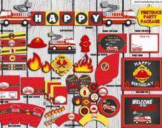 Paquete fiesta bombero personalizado, fuego carro fiesta decoraciones, cumpleaños del camión de bomberos, Firetruck cotillón, fiesta de bombero para imprimir