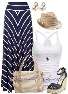 Fashion For Mom – Fashion on a Budget – Navy And White Maxi Skirt - Perfect SUMMER outfit! minus the hat Click on Visit Site to Find Out More