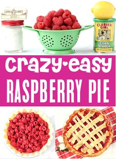 Raspberry Pie Recipes - Easy Summer Fruit Dessert!  With the perfect blend of fresh sweetness and a hint of tart, using fresh raspberries to make this homemade pie is the perfect way to enjoy these sweet Summer berries!  Go grab the recipe and give it a try this week! Easy Summer Desserts, Easy Summer Meals, Easy Desserts, Summer Recipes, Delicious Desserts, Easy Pie Recipes, Fruit Recipes, Dog Food Recipes, Dessert Recipes
