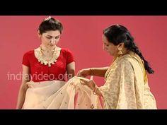How to wear a Jamdani saree in Bengali style - good for Caitanya Lila plays - Sachi Mata, Visnu Priya...