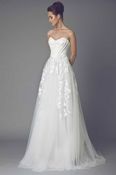 Sweetheart A-Line Wedding Dress  with Natural Waist in Tulle. Bridal Gown Style Number:33114869