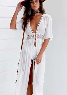 Bikini Cover up Solid Hollow out Beach Dress Summer Chiffon Swimwear Women Long Sleeve Bathing Suit Cover up Sexy Swimsuit tunic - White M Source by CreativeDreamscape suits for women Dress With Cardigan, Maxi Dress With Sleeves, Kimono Cardigan, Half Sleeves, Kimono Dress, Long White Maxi Dress, Long Dresses, Maxi Dresses, White Dress