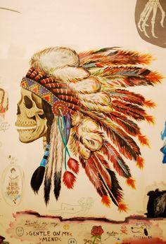 Skull with head feathers Indian Skull, Indian Art, Headdress Tattoo, Native Tattoos, Indian Tattoos, Tattoo Feminina, Love Tattoos, Future Tattoos, Tatoos