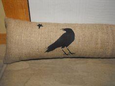 Black Crow Door Draft Stopper Linen by primitivelymadebyme on Etsy Primitive Pillows, Primitive Fall, Primitive Crafts, Country Primitive, Window Draft Stopper, Door Draught Stopper, Door Stopper, Diy Throw Pillows, Burlap Pillows