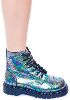 iridescent | mother-of-pearl | gleaming | shimmering | metallic rainbow | shine | opalescent | Iridient | holographic | T.U.K. Oil Slick Leather 7 Eye Boot | Dolls Kill