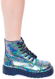 T.U.K. Oil Slick Leather 7 Eye Boot | Dolls Kill