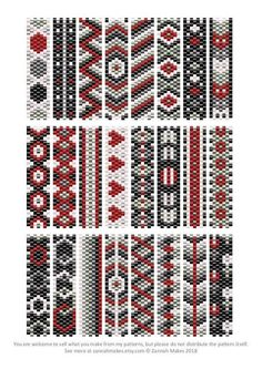 6 Colour Carrier Bead Patterns Odd Count Peyote Six-Colour Patterns Full Word Ch. - 6 Colour Carrier Bead Patterns Odd Count Peyote Six-Colour Patterns Full Word Charts Colourway 1 - Peyote Beading Patterns, Peyote Stitch Patterns, Seed Bead Patterns, Beaded Bracelet Patterns, Loom Beading, Color Patterns, Art Patterns, Weaving Patterns, Mosaic Patterns