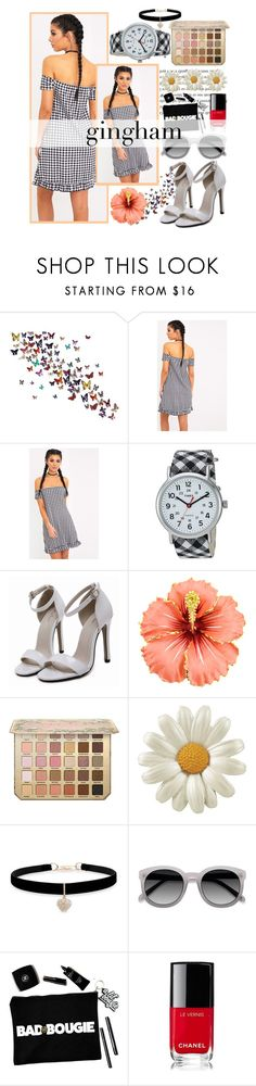 """Gingham dress (2)"" by fangirl-preferences ❤ liked on Polyvore featuring Timex, Betsey Johnson and Chanel"