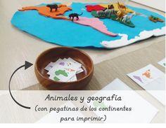 Animales y geografía con los Safari Toobs, con pegatinas de los continentes para imprimir.