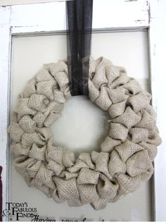 I mentioned in the Decorative Aged Door:Before and After  post, that I wanted a wreath for my 'new' door that was full, had asoftness to i...