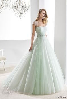 nicole jolies 2016 wedding dresses beaded sheer cap sleeves sweetheart neckline pastel green tulle a line wedding dress joab16423