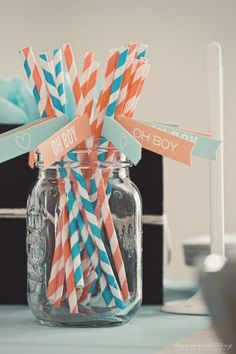 Straws for baby boy shower @Mary Wang Koester