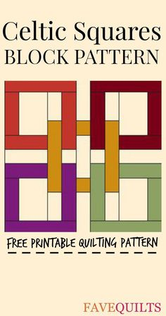 The Celtic Squares Block is everything you'd expect from a Judy Martin pattern: elegant, unique, and understated. This quilt block tutorial marries the feel of a log cabin quilt block pattern with interlocking rings or even a rail fence quilt pattern Celtic Quilt, Quilt Patterns Free, Pattern Blocks, Pattern Ideas, Quilting Tutorials, Quilting Designs, Quilting Tips, Longarm Quilting, Machine Quilting