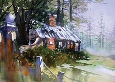 TRUE or FALSE? In watercolor, the power of what's NOT painted is at least as important as the power of what is. -- Join us as Thomas Schaller walks us through how he creates a path of light in this new blog post. Watercolor Paintings, Watercolor Painting Techniques, Watercolour Tutorials, Watercolor Artists, Medium Art, Abandoned, Paths, Cabin, Basic Shapes